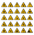 set warning signs triangle yellow warnings vector image vector image
