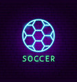 soccer neon label vector image