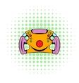 Steering wheel icon comics style vector image