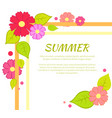 summer text and floral frame vector image vector image
