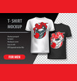 t-shirt template with jocker skull vector image vector image