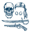 the skull of a pirate vector image vector image