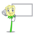 thumbs up with board white rose in the shape vector image vector image
