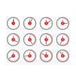 timer icons analog clocks dial with red vector image