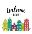 Town building City streets with phrase welcome vector image vector image