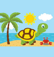 turtle with cancer on the beach vector image vector image