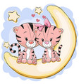 two cute tigers on the moon vector image vector image