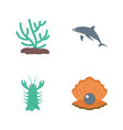 underwater creature flat icons vector image vector image