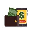 wallet money smartphone payment online design vector image