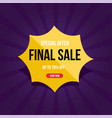 yellow final sale banner up to 70 off vector image vector image