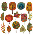 collection of autumn leaves and trees vector image