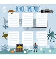 School schedule with underwater world timetable vector image