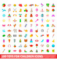 100 toys for children icons set cartoon style vector image vector image