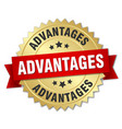 advantages round isolated gold badge vector image vector image