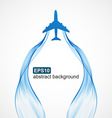 Airplane blue wave smoke background vector image vector image