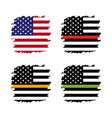 american thin line flag set - gold blue red green