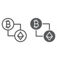 bitcoin vs ethereum line and glyph icon finance vector image vector image