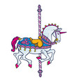 bright elegant smart carousel unicorn vector image