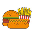 burger hot dog and french fries fast food vector image