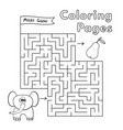 cartoon elephant maze game vector image vector image