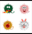 cartoon fluffy monsters on a white background vector image vector image