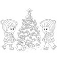 children skating around a christmas tree vector image