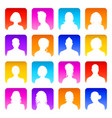 collection 16 colorful silhouette avatars vector image