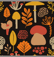 colorful seamless pattern with mushrooms vector image vector image
