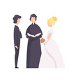 couple of newlyweds and priest officiating wedding vector image vector image