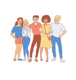 diversity group of people hugs - hand drawn young vector image