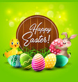 easter greeting card with little rabbit and duck vector image vector image