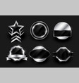 empty silver label and badges collection design vector image