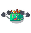 fitness character wooden box of kids toys vector image