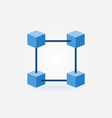 flat blockchain blue icon vector image vector image
