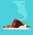 flat with hot cooked meat vector image