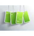 Four hanging green eco cards You can place your vector image