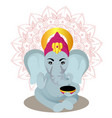 ganesha cartoon on mandala background vector image vector image