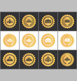 gold royal quality approval marks with crowns set vector image vector image