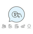 hold coin line icon dollar currency vector image vector image