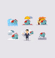 insurance icons set natural disasters property vector image vector image