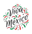 lettering viva mexico traditional mexican holiday vector image vector image
