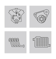 Machine icon set over frames Auto part design vector image vector image