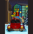 man driving car with christmas presents vector image vector image