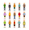 old people set of diverse elderly people with vector image vector image