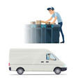 postman delivery man and courier profession icon vector image vector image
