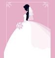 profile bride in a wedding dress with a vector image vector image