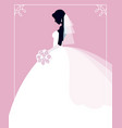 profile of the bride in a wedding dress with a vector image vector image