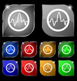 pulse Icon sign Set of ten colorful buttons with vector image vector image