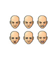Set of bald men icons vector image vector image