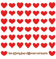 set of forty four different red hearts isolated vector image